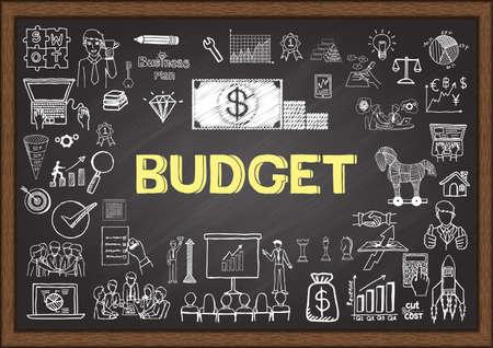 Doodles na temat budżetu na tablicy szkolnej.