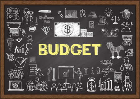 Doodles about budget on chalkboard.