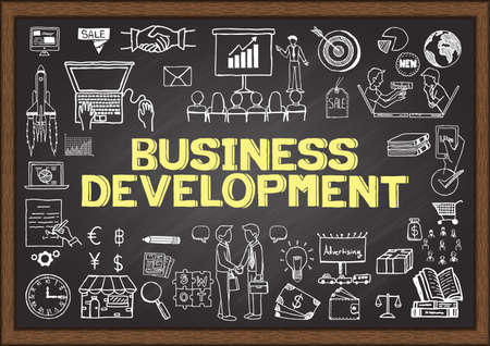 Business doodles about business development on chalkboard. Vectores
