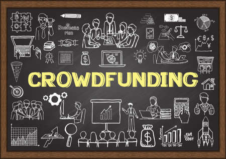 Business doodles about crowdfunding on chalkboard. Vector Illustration