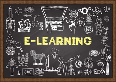 Doodles about e learning on chalkboard.