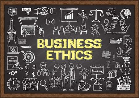 Garabatos de negocio sobre la ética empresarial en la pizarra.