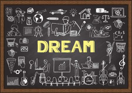 sen: Obchodní čmáranice o lidech sní na tabuli. Ilustrace