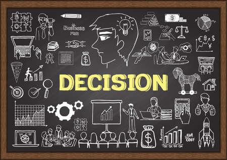 Ilustración dibujada a mano sobre la decisión en la pizarra Ilustración de vector