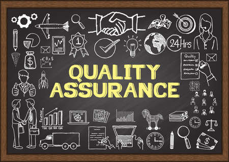 Business doodles about quality assurance on chalkboard.