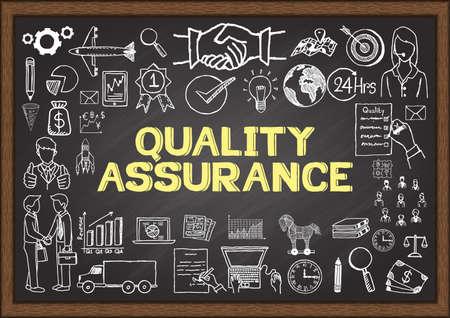 control de calidad: Garabatos de negocio sobre la garantía de calidad en la pizarra.