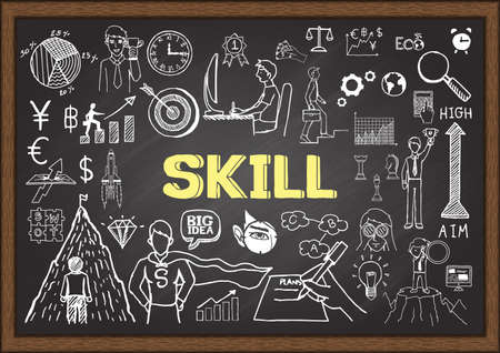 Business doodles about skill on chalkboard. Vectores