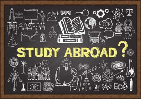 Doodles sobre estudios en el extranjero en la pizarra.