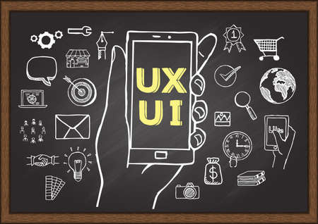 Doodles about UX UI on chalkboard. 矢量图像