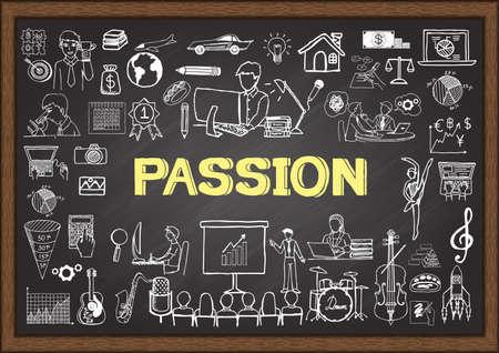 страсть: Рисунки о страсти на доске. Иллюстрация