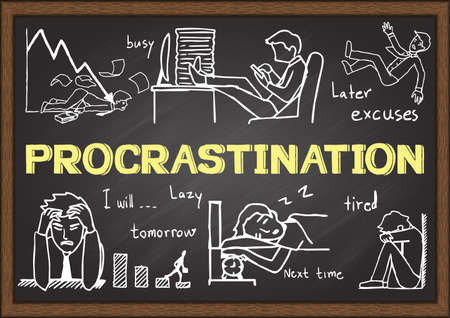 postpone: Doodles about procrastination on chalkboard. Illustration