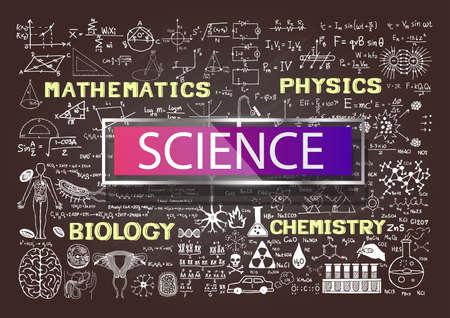手は、黒板で科学を描画します。