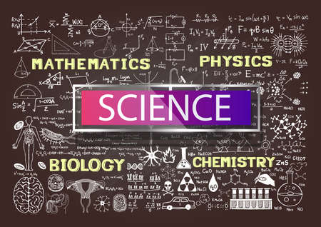 Hand drawn science on chalkboard. Imagens - 42287422