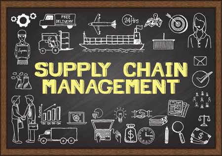 office supplies: Business doodles about supply chain management.