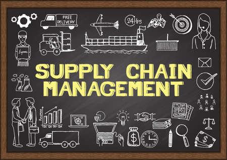 in chains: Garabatos de negocio sobre gestión de la cadena de suministro. Vectores