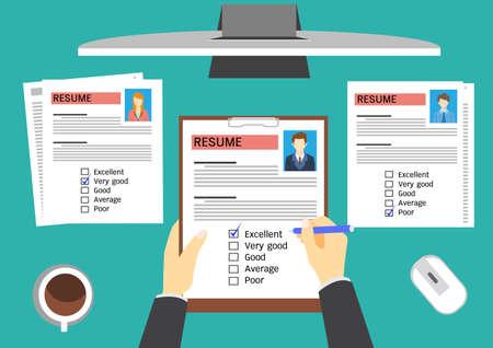 Directeur des ressources humaines l'évaluation des candidats. Banque d'images - 42287426
