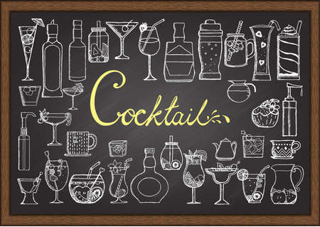 shot: Big set of hand drawn cocktails on chalkboard. Illustration