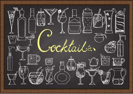 Grote set van de hand getekende cocktails op bord. Stock Illustratie