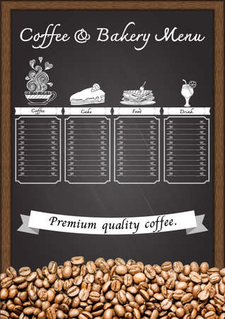 Coffee menu with coffee beans on chalkboard.