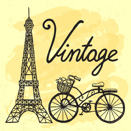 Hand drawn Eiffel tower and vintage bicycle. Illustration