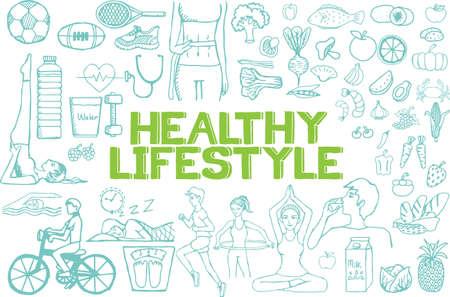 vida sana: Dibujado a mano sobre el estilo de vida saludable en el fondo blanco.