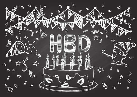welcoming: Hand drawn Happy birthday card on chalkboard