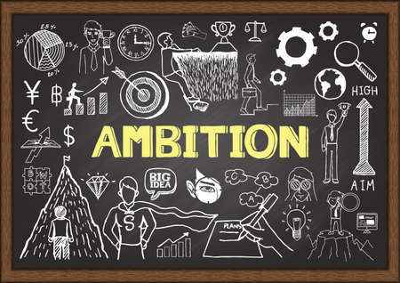 uphill: Business doodles on chalkboard with ambition concept.