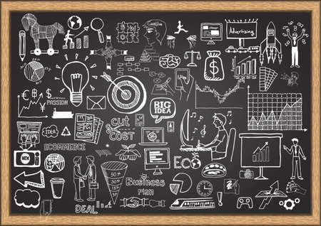 office icon: Business doodles on chalkboard.