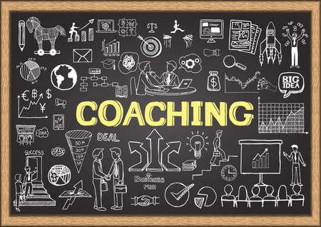 coaching: Dessin� � la main sur le coaching tableau. Griffonnages d'affaires. Illustration