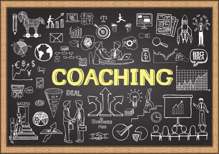 Hand drawn coaching on chalkboard. Business doodles.