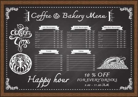 black board: Hand drawn cafe menu con chalkboard design template.