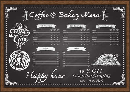 black: Hand drawn cafe menu con chalkboard design template.
