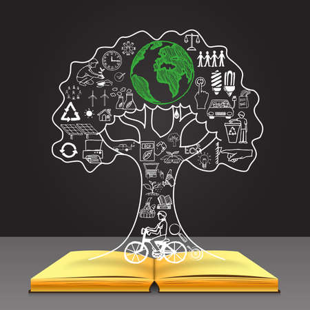 Hand getrokken ecologische iconen in de boomvorm. Hoe meer we groeien bomen het meer goede tijd voor ons woord krijgen we. Plan voor onze wereld, onze toekomst en onze kinderen. Stock Illustratie