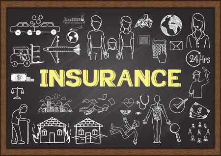 醫療保健: 關於保險的黑板上塗鴉。 向量圖像