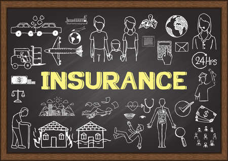insurance protection: Doodles about insurance on chalkboard.
