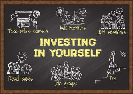 Info grafica su lavagna di investire in te stesso. Archivio Fotografico - 42294177