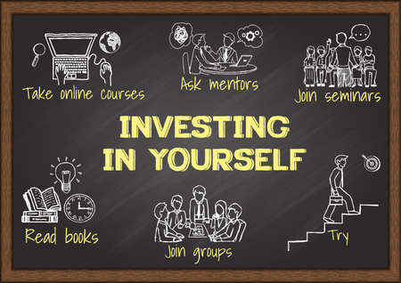 Info graphics on chalkboard about investing in yourself. Ilustração