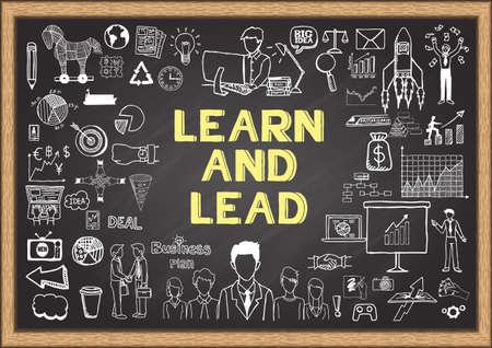liderazgo empresarial: Garabatos de negocio sobre aprender y llevar en la pizarra. Vectores