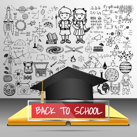 school frame: Back to school concept with 3d educated hat ,notebook and red transparent frame with hand drawn back to school doodles.