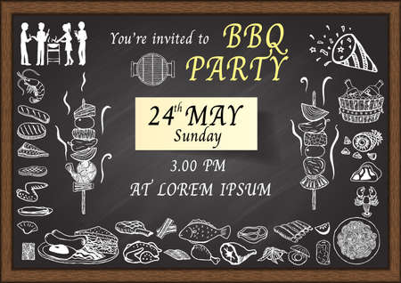steak sandwich: BBQ party invitation on chalkboard. Design template for poster, card, web, brochure and etc. Illustration