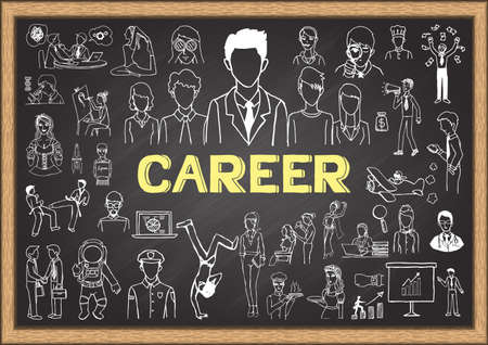 career: Career doodles on chalkboard. Illustration