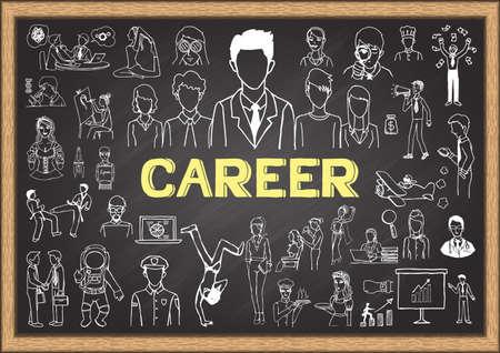 careers: Career doodles on chalkboard. Illustration