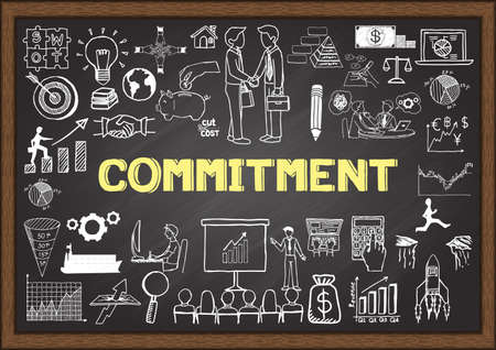 light duty: Business doodles with the concept of COMMITMENT.