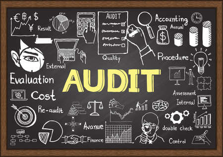 financial audit: Business doodles on chalkboard with audit concept.