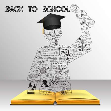 conocimiento: Aprendizaje de concepto. El conocimiento del libro se convierte en éxito estudiante graduado. Garabatos de Educación, incluyendo la palabra RUMANO en rumano, chino en chino, coreano en coreano y otros idiomas. Vectores