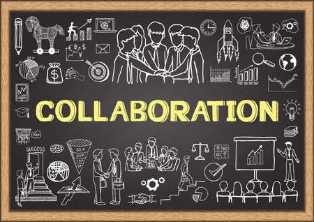 challenges: Business doodles on chalkboard with the concept of Collaboration.