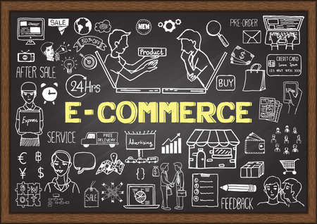 internet shop: Hand drawn info graphic on chalkboard with E commerce concept.