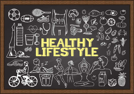 well: Hand drawn about HEALTHY LIFESTYLE on chalkboard.