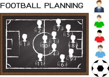 tactic: Football or soccer planning on chalkboard with flat avatar football player and football.