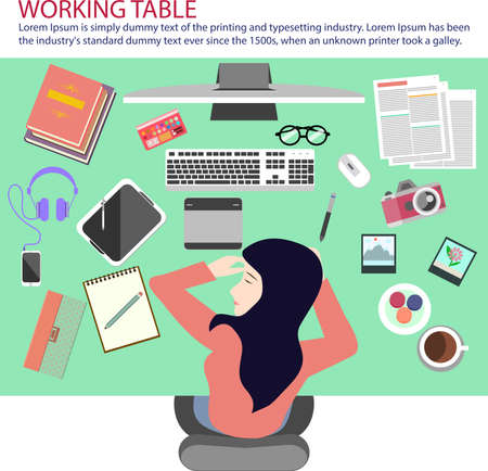 wacom: Busy woman taking a nap on working table